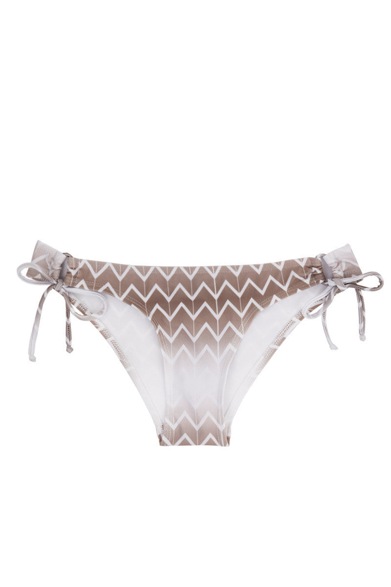 Gulf Tie Side Moderate Bikini Bottom - Driftwood Brown Chevron Print