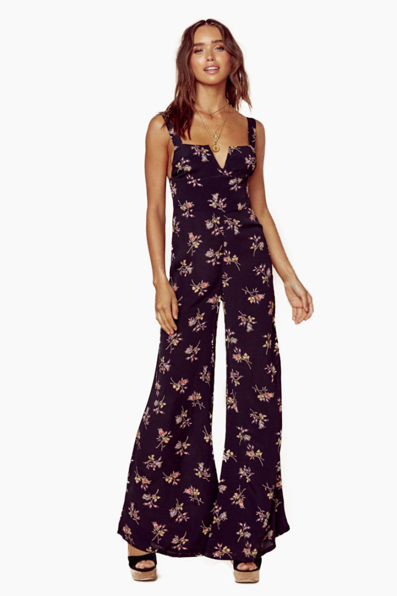 Gypset V Wire Flared Jumpsuit - Nightfall Bouquet Floral Print
