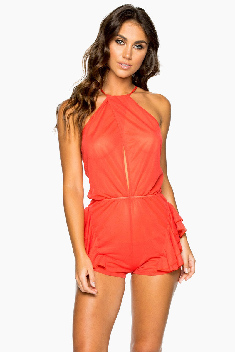 Habanera High Neck Ruffle Romper - Girl On Fire Red