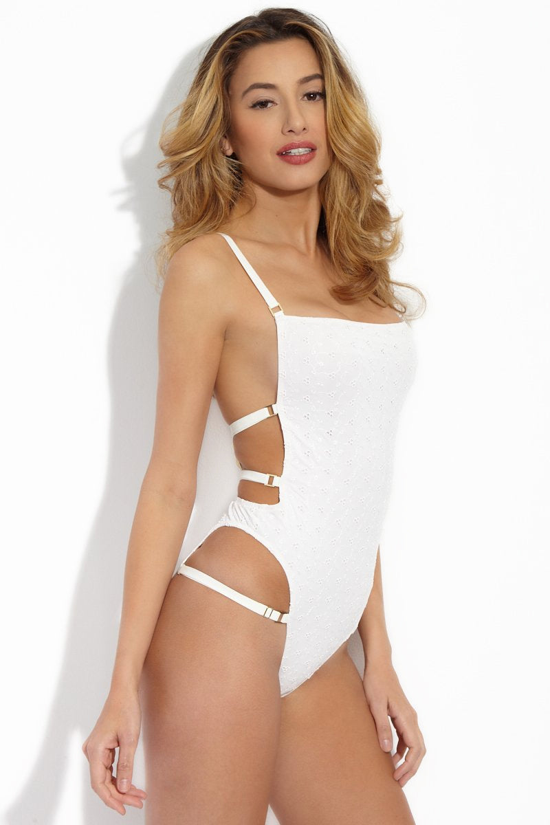 HOT AS HELL Eyelet Hahp 2 It One Piece - Eggshell White One Piece | Walking On Eggshell White