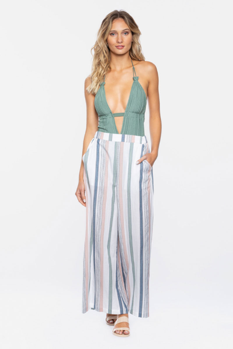 Hannah High Waisted Pants - Meadow Green Stripe Print