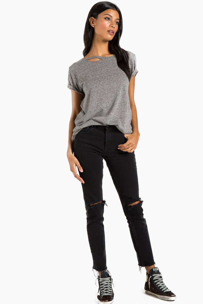 Harlow Distressed Bff Tee - Heather Grey