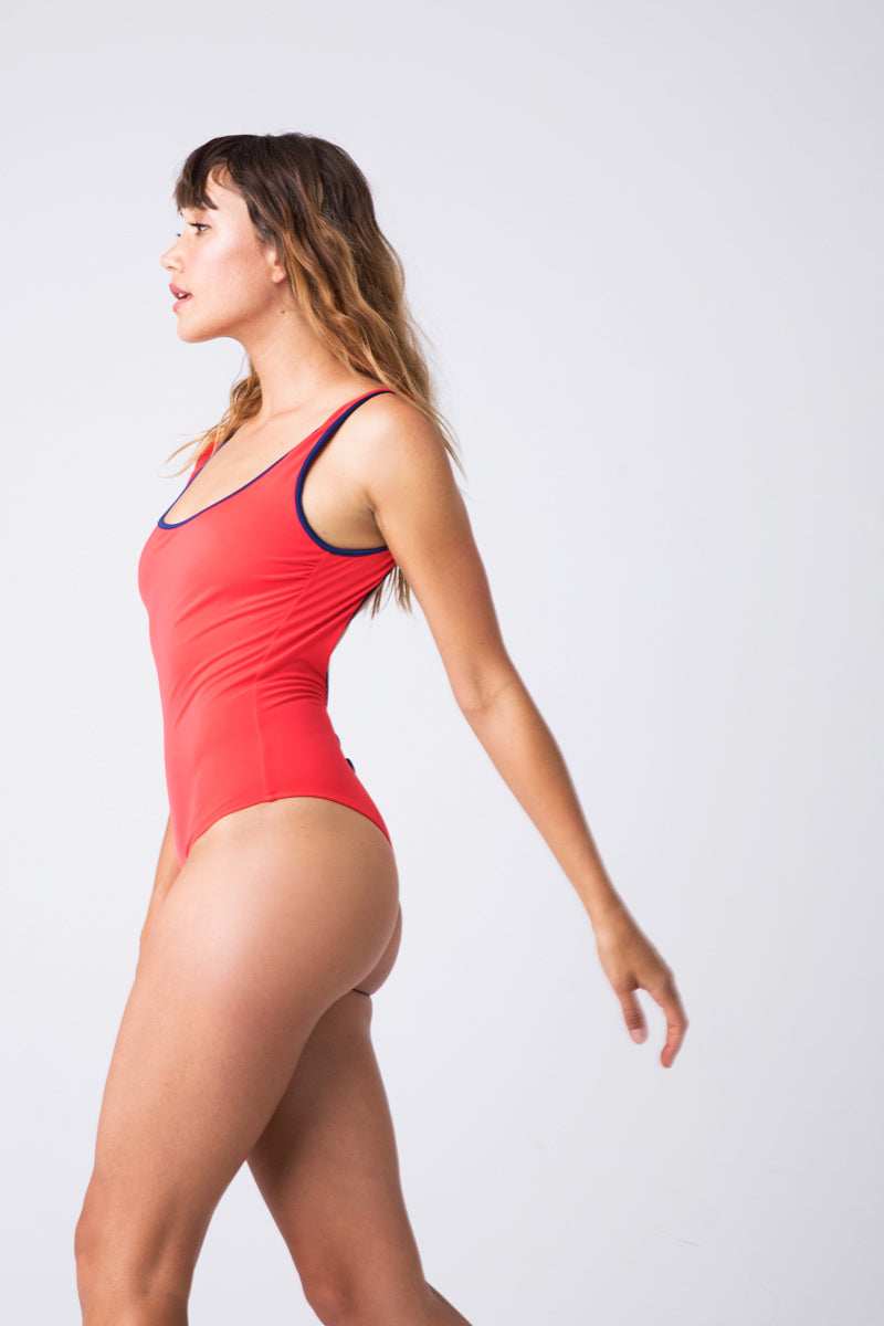 The Harlow Scoop Neck One Piece Swimsuit - Harlow Red