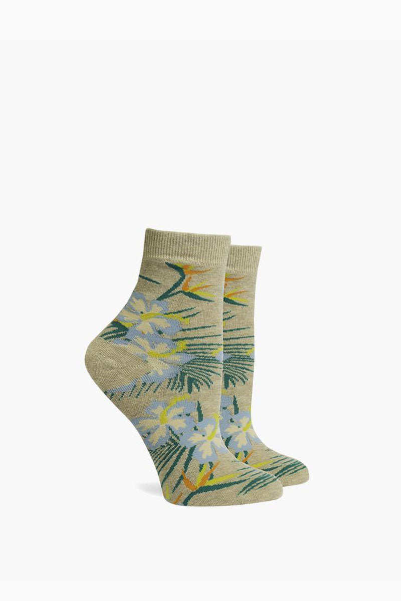 Havana Ankle Socks - Oatmeal Brown Tropical Print