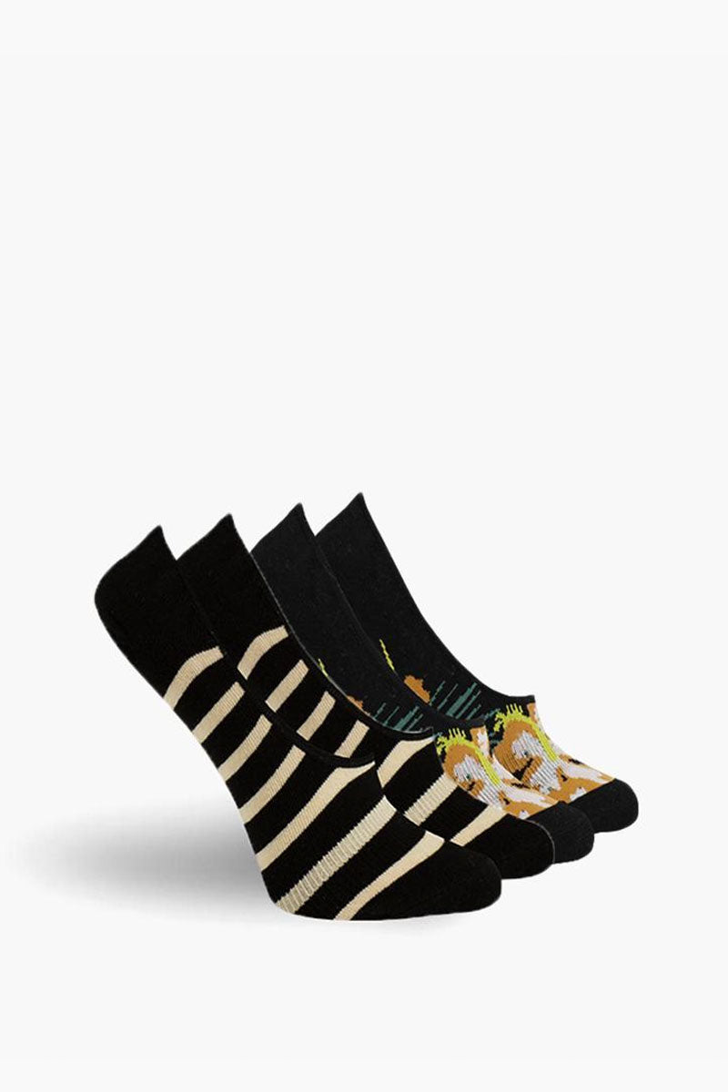 Havana No Show Socks - Black & White Stripe Print