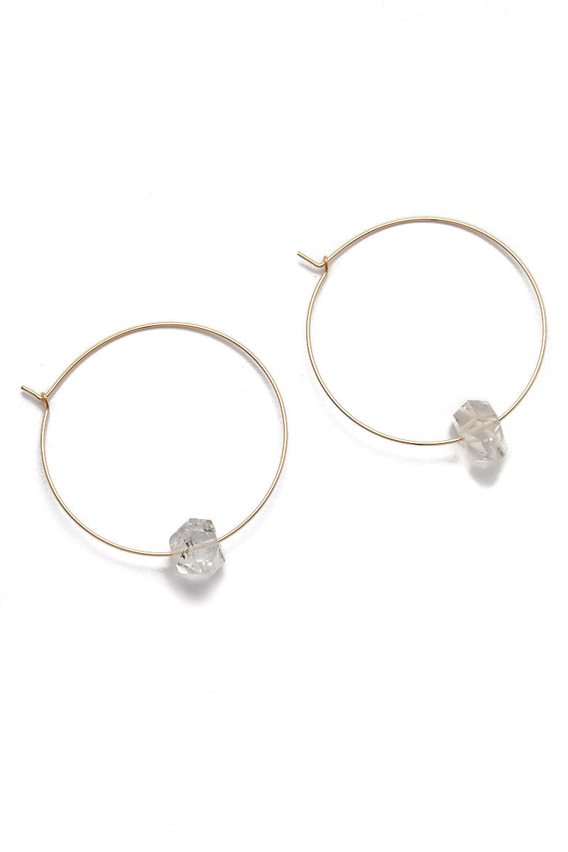 Hayley Hoop Earrings - Gold/Quartz