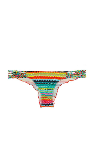 LULI FAMA Braided Brazilian Bottom Bikini Bottom | Multicolor Stripes|