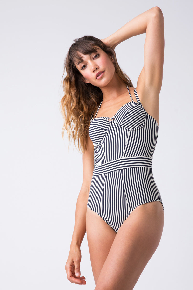 Holi Vintage Plunge Balcony One Piece Swimsuit - Midnight Blue & White Stripe Print