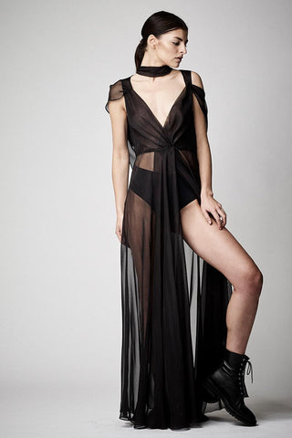PIXIE WON'T PLAY Hooded Beach Dress cover up | Black| Pixie wont play dress