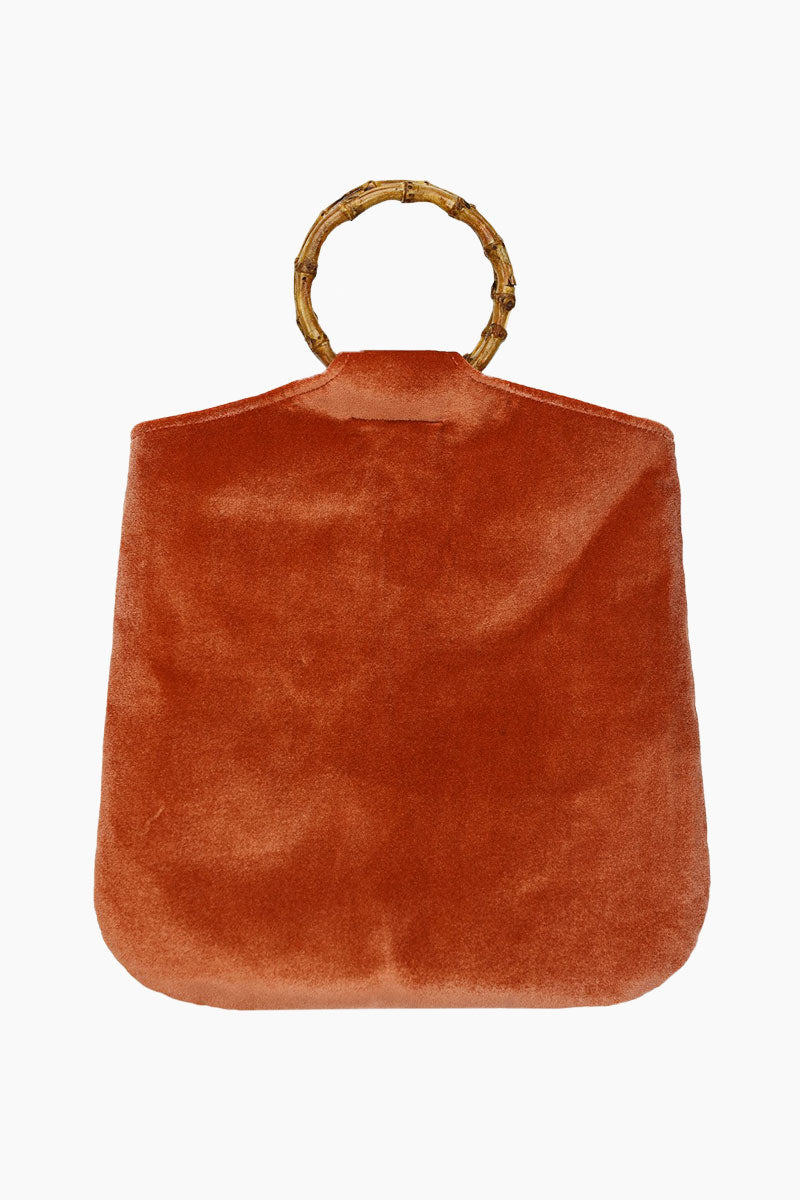 Hudson Velvet Tote - Rust Brown