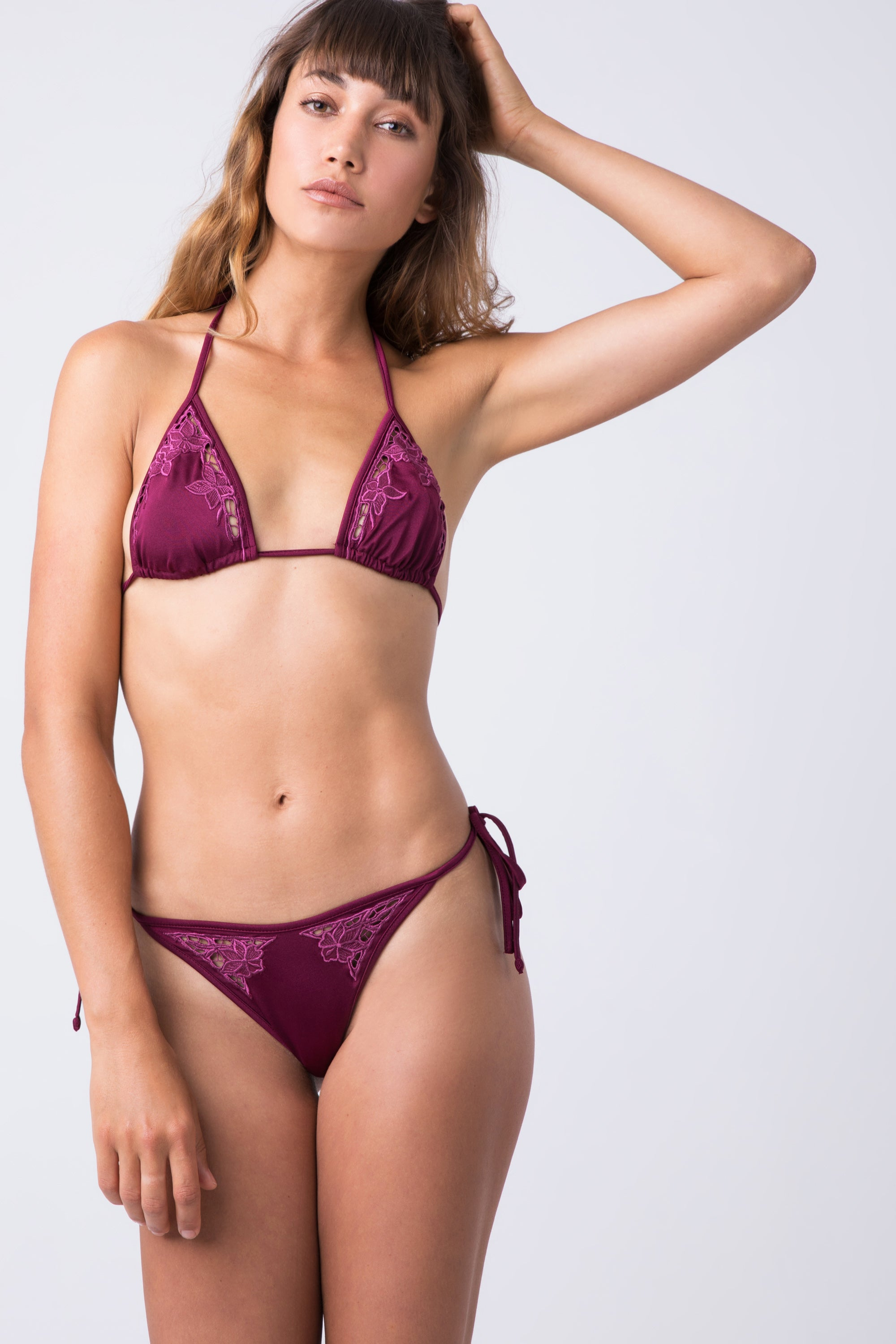 Huey Lace Triangle Bikini Top - Berry Red
