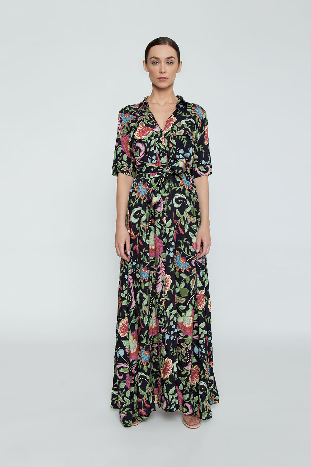 Chemise Short Sleeve Button Up Maxi Dress - Life Flower Print
