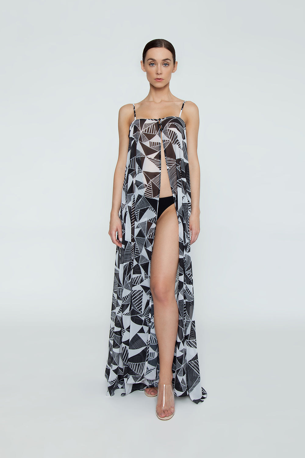 Check Out Open Front Flowy Maxi Dress - Black & White Umbrellas Print