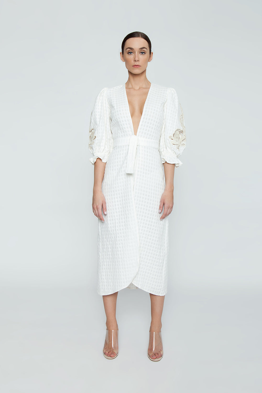 c5467b0ec593a ... ADRIANA DEGREAS Cotton Embroidery Long Robe Cover-Up - Off White -  undefined undefined