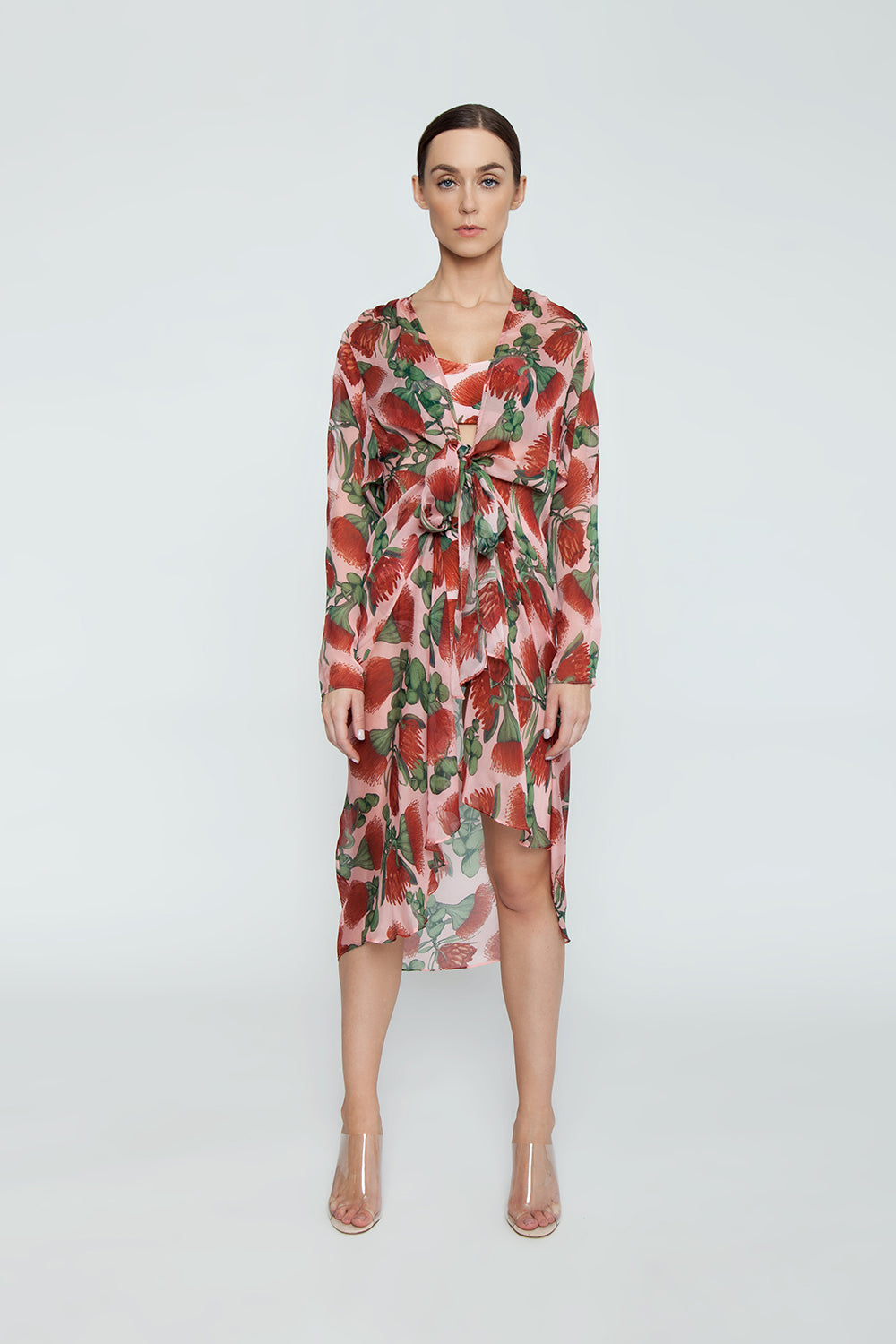 1538be5b6a ... ADRIANA DEGREAS Silk Muslin Long Robe Cover-Up - Fiore Rose Print -  undefined undefined
