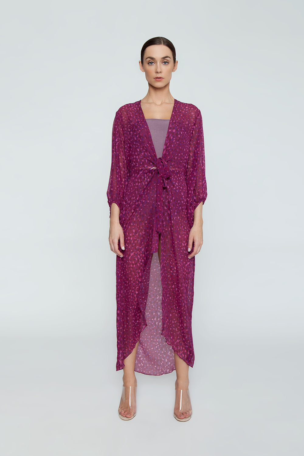 8836f2e2fb70 ... ADRIANA DEGREAS Silk Georgette Long Robe Cover-Up - Pomegranate Pink  Print - undefined undefined