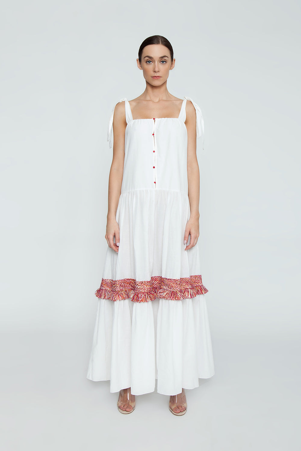 69adb8e912 ... CLUBE BOSSA Bolkan Shoulder Tie Long Dress - White & Jazzy Fringes Red  - undefined undefined