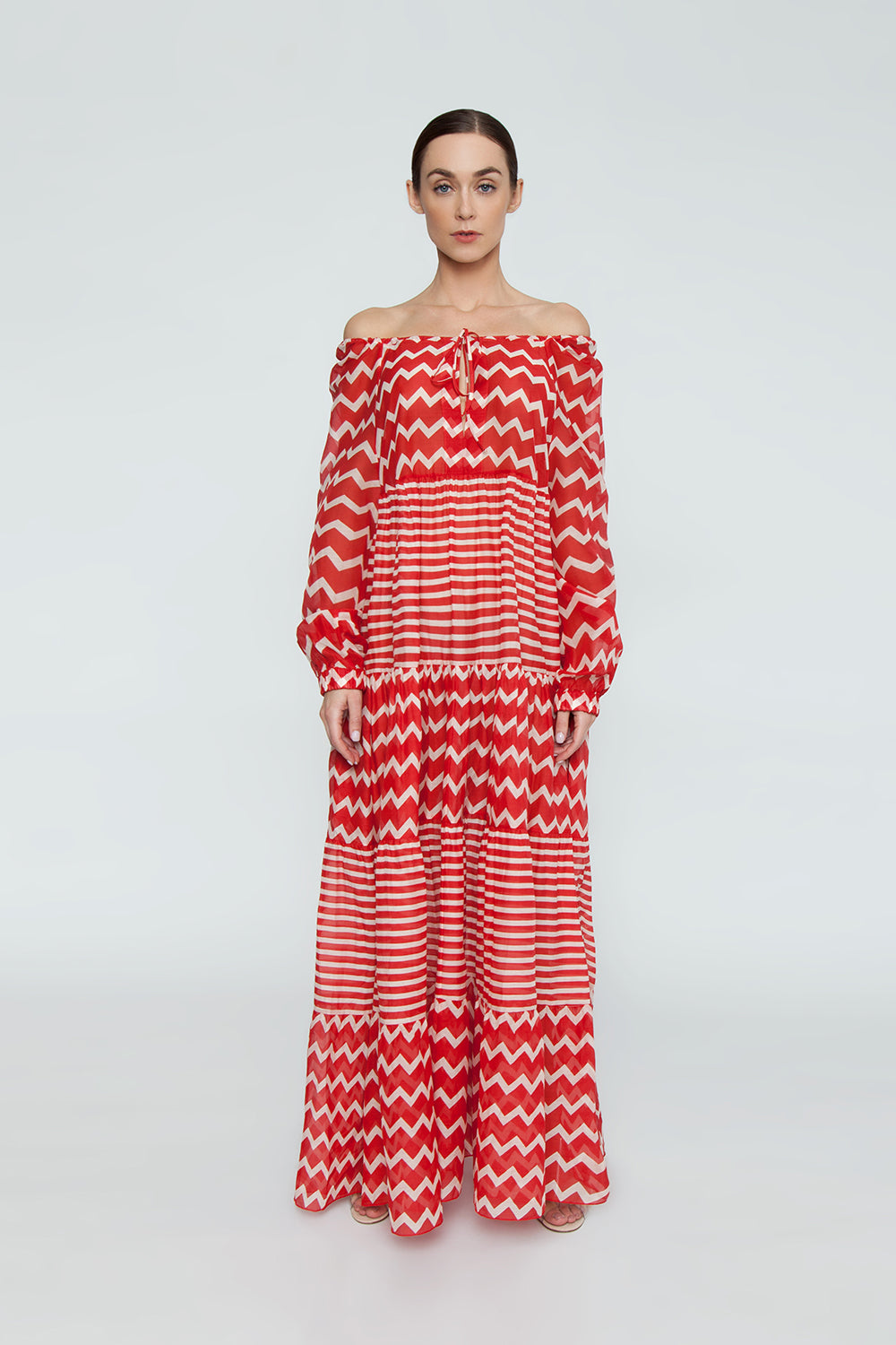 dd68289f10 ... STELLA MCCARTNEY Zig-Zag Cover-Up Maxi Dress - Red/Cream Chevron/