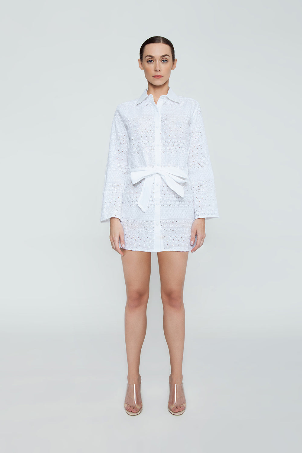 Signature Eyelet Big Shirt Dress - White