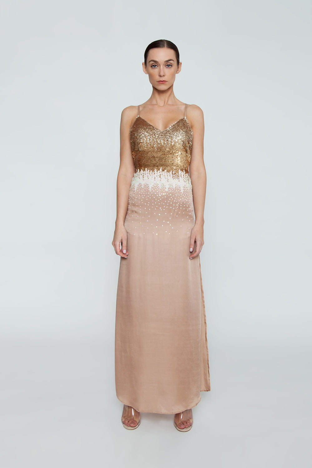 Ariel Sequin T-Back Maxi Dress - Gold Ombre Print