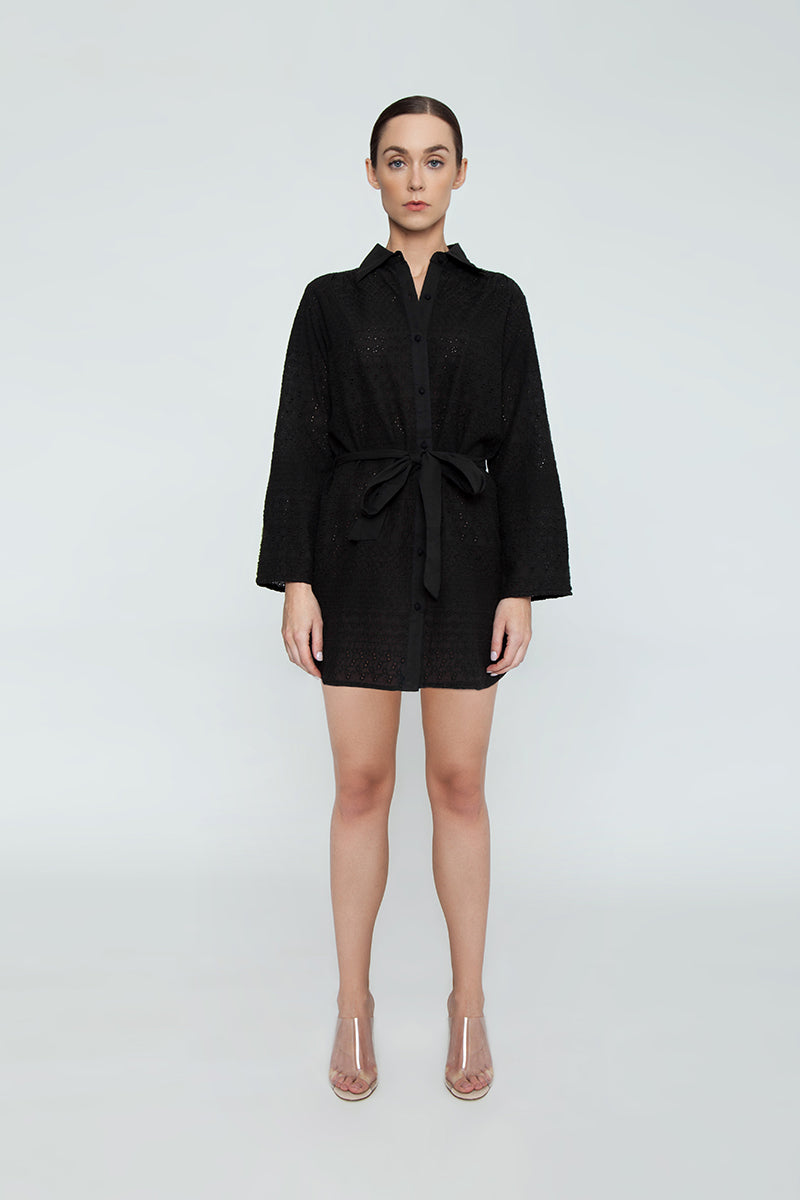 Signature Eyelet Big Shirt Dress - Black