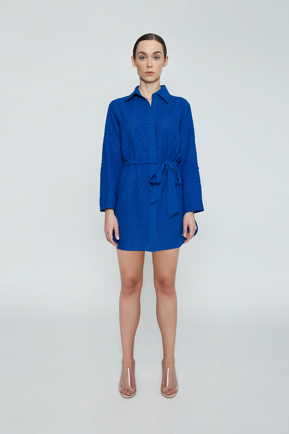 Signature Eyelet Big Shirt Dress - Blue
