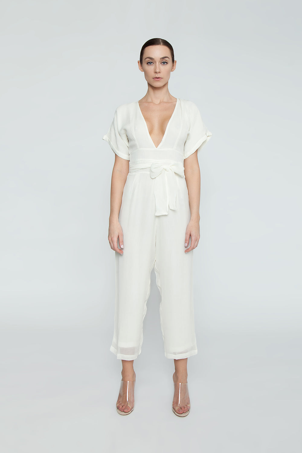 Havana Plunging Belted Jumpsuit - Cream White