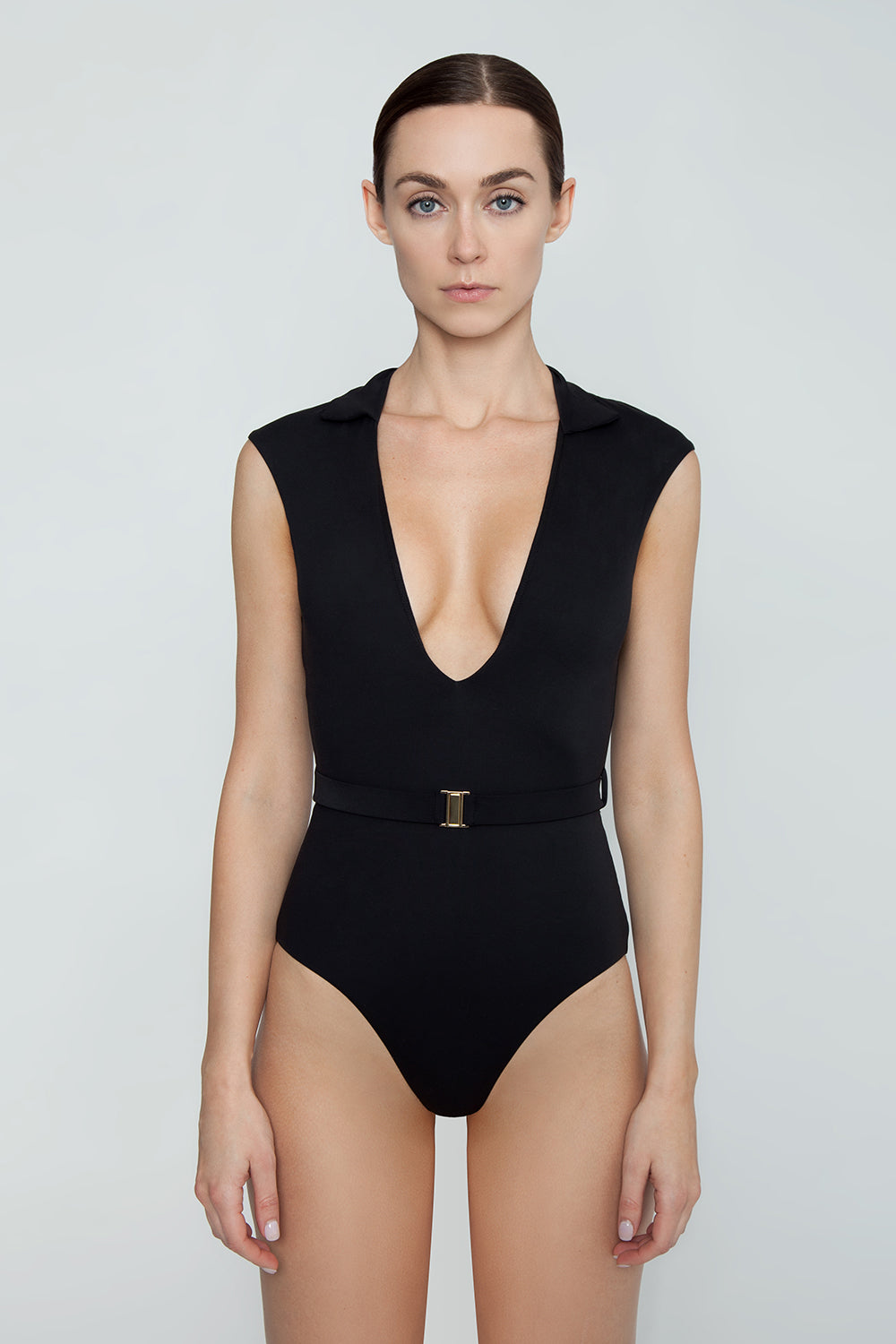 ca1b3ebe9fd4 ... AMAIO SWIM Franz Collared Plunging One Piece Swimsuit - Black -  undefined undefined