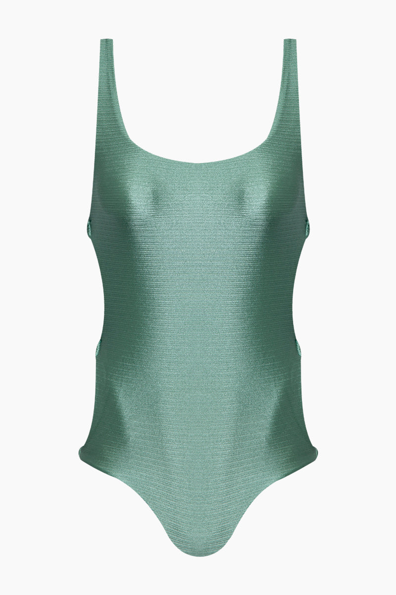 Estelle Tank Side Cut Outs One Piece Swimsuit - Sage Green