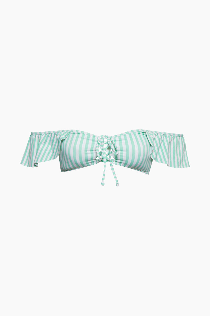 Audri Off Shoulder Lace Up Bandeau Bikini Top - Mint Green & White Stripe Print