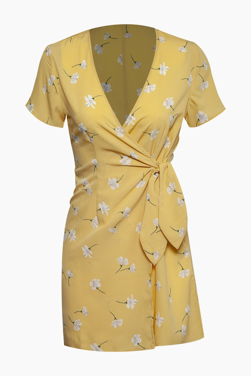 Elena Short Sleeve Wrap Mini Dress - Sunray Yellow Floral Print
