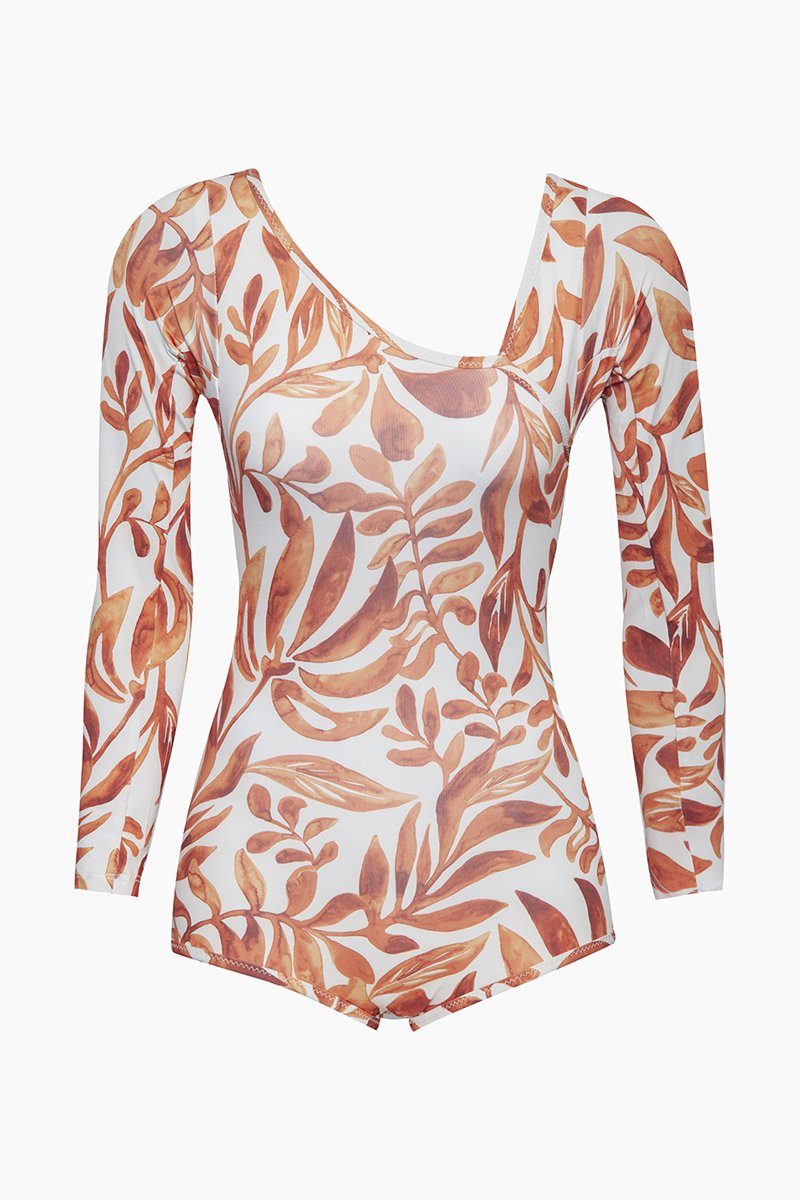 Umi Asymmetric Rashguard Bodysuit - Orange Kelp Print