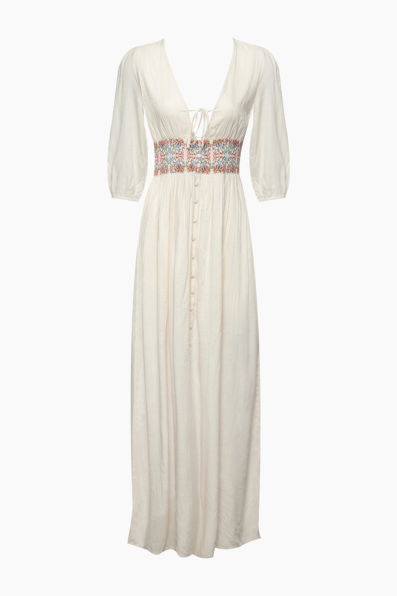 Embroidered Waist Maxi Dress - Cream White Floral Print