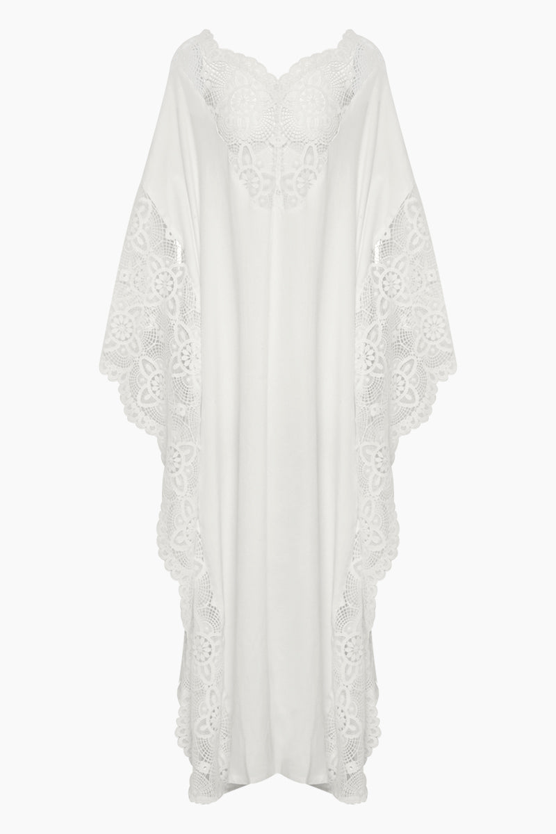 Kandy Kaftan Lace Maxi Dress - Ivory