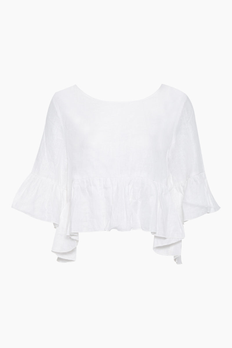 St Lucia Cropped Flowy Top - Ivory White