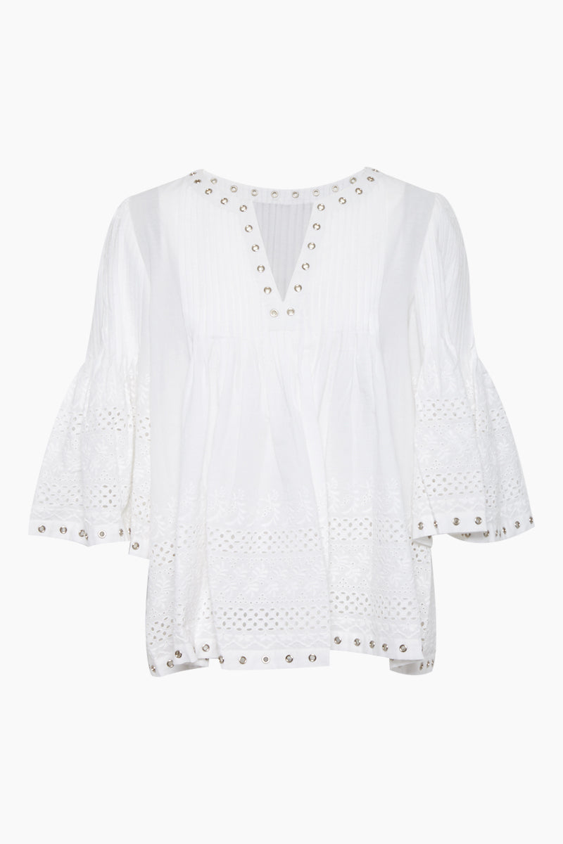 Dove French Lace Grommet Top - White