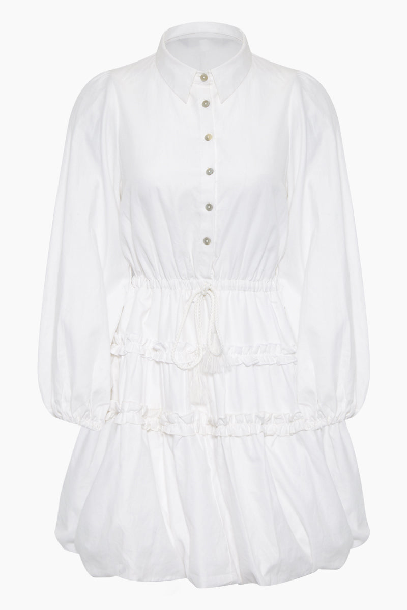 Baku Collared Button Up Mini Dress - Plain White