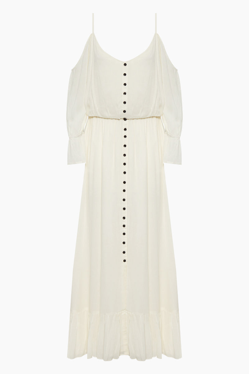 Rio Off Shoulder Button Up Maxi Dress - Ivory White