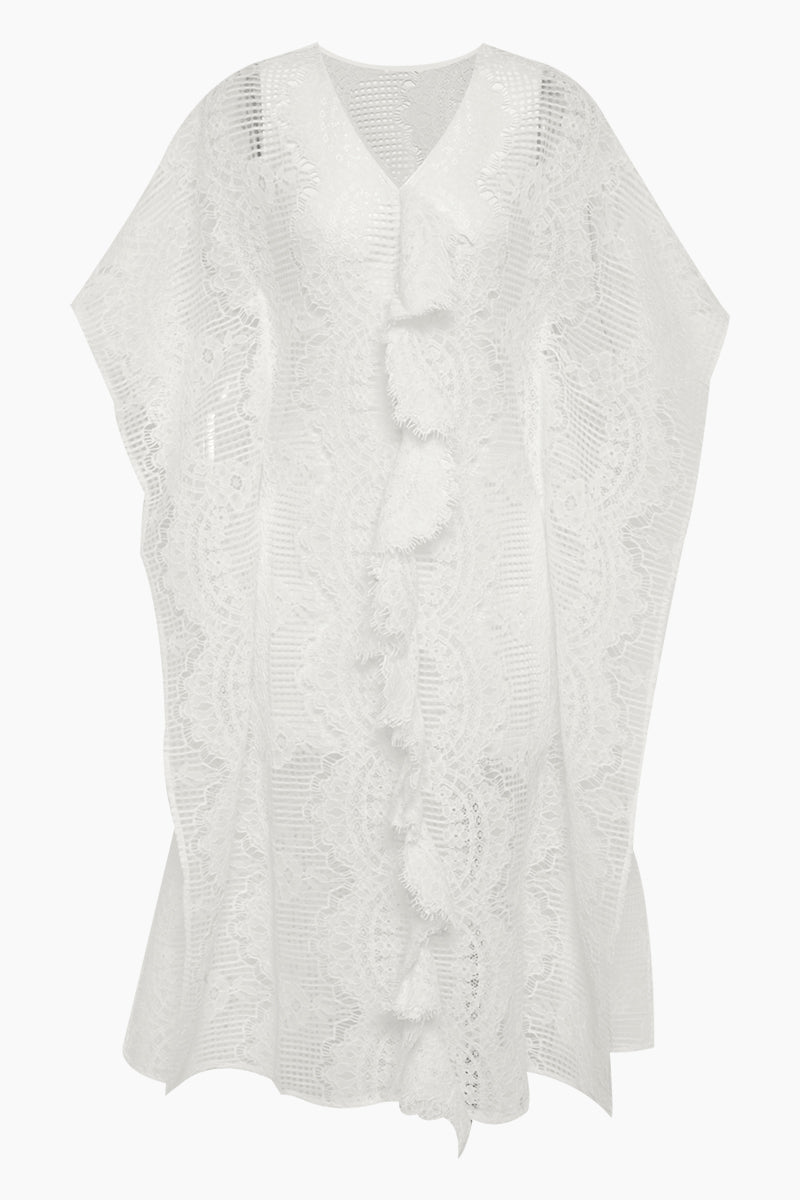 Sardinia Kaftan Lace Midi Dress - Ivory White
