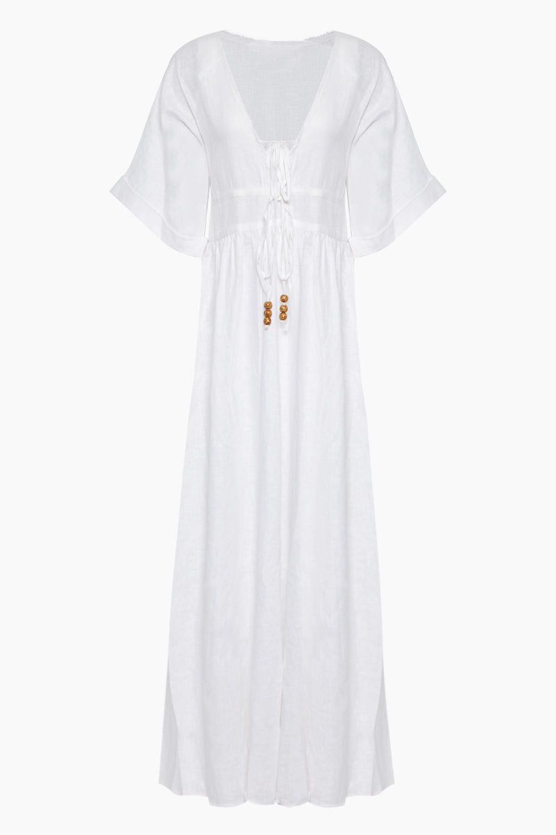 Barbados Short Sleeve Front Tie Maxi Dress - White