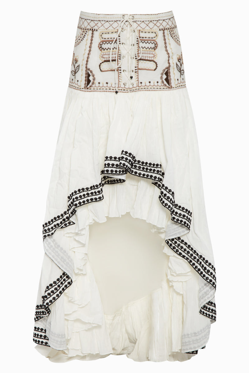 Roya Embroidered High Waist Ruffle Skirt - Ivory White Bohemian Print