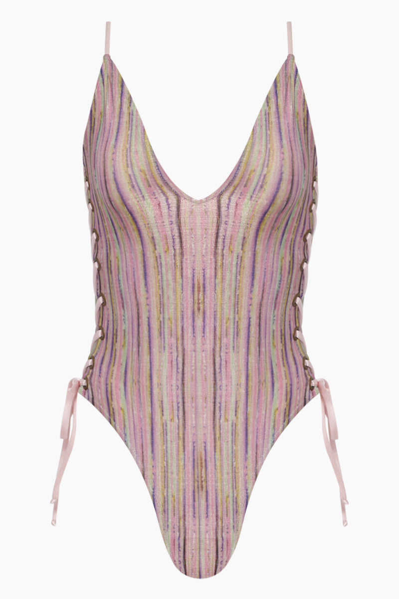 Camelia Reversible Lace Up Sides One Piece Swimsuit - Pink Stripe Print/Pink