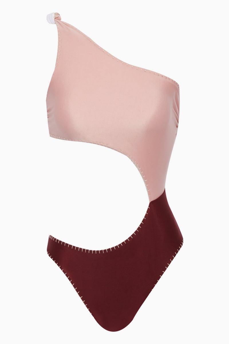 Eva Reversible Color Block One Shoulder Side Cut Out One Piece Swimsuit - Pink & Maroon Red/White