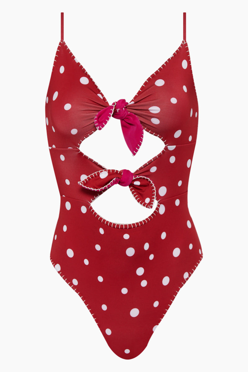 Marion Reversible Front Ties One Piece Swimsuit - Red Polka Dot Print/Maroon Red