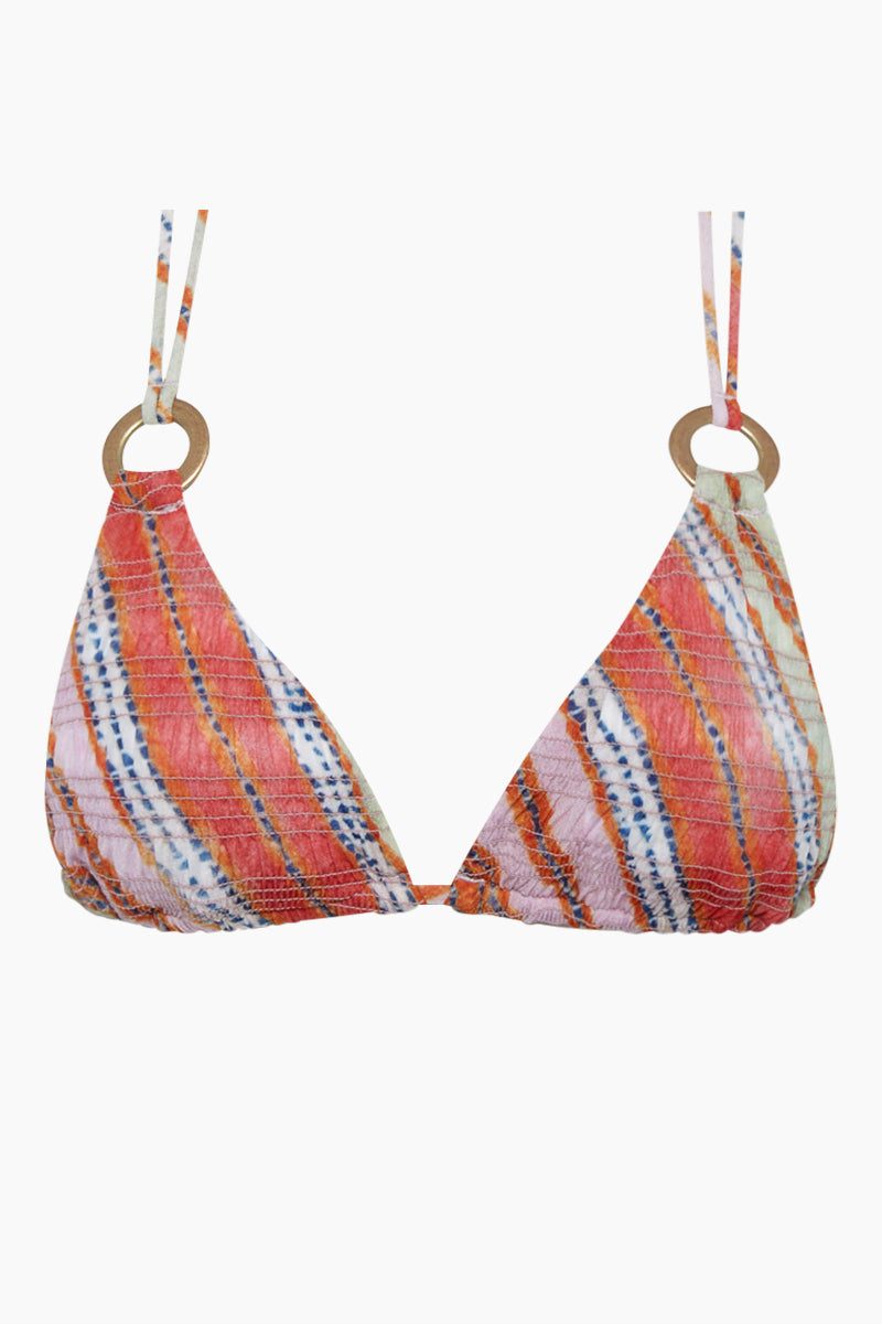 Antheia Tara Triangle Bikini Top - Multi-color Stripe Print
