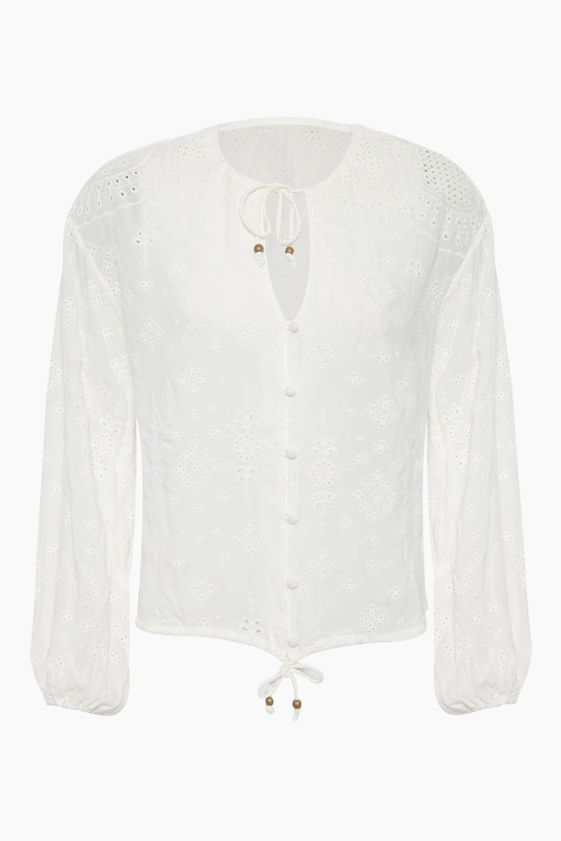 Xanthe Long Sleeve Button Up Blouse - White