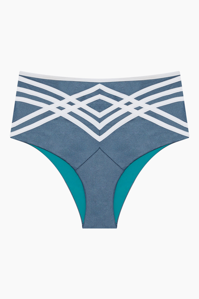 Desiree Retro High Waisted Bikini Bottom - London Eye Blue /Bianco White