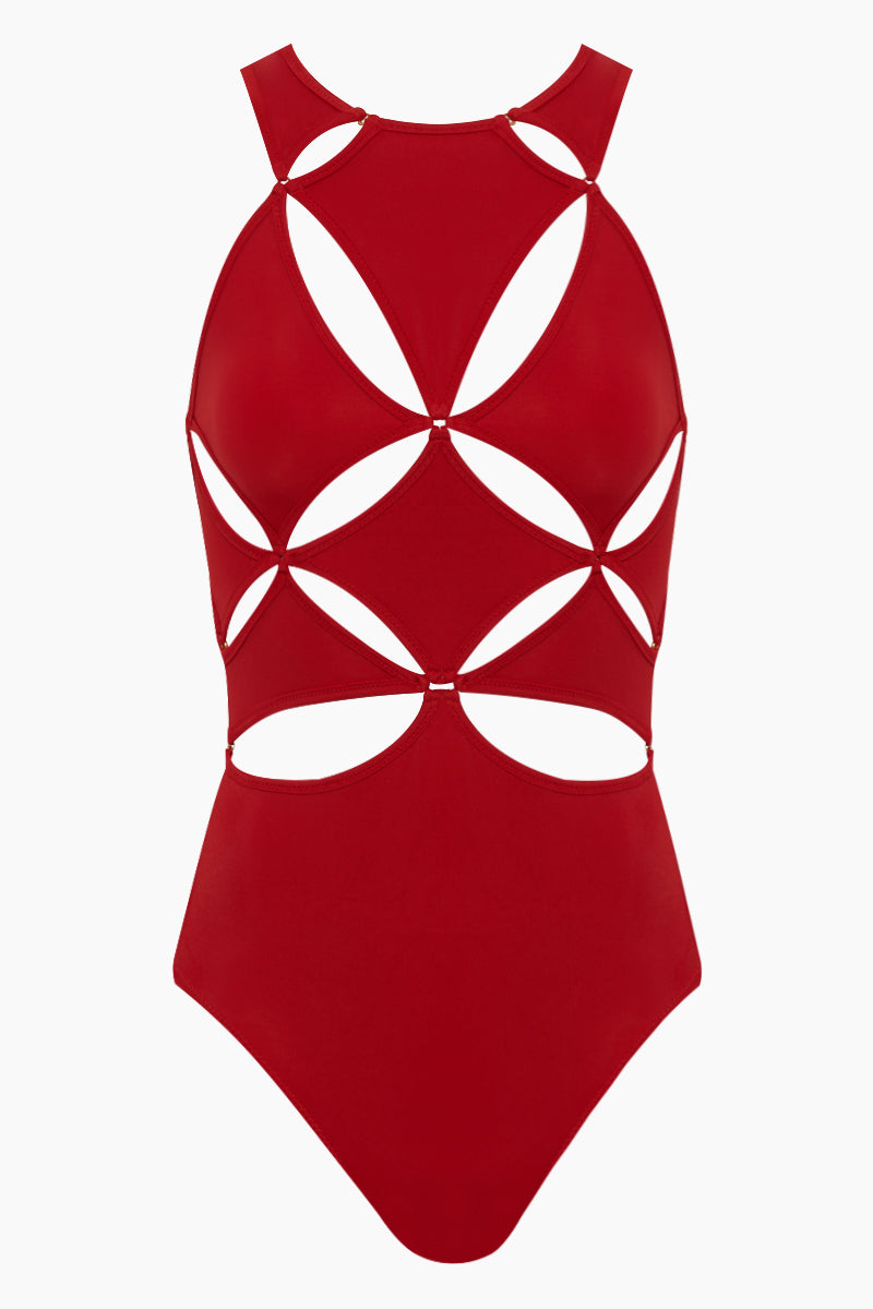 Diamond Cut Outs One Piece Swimsuit -  Poppy Red