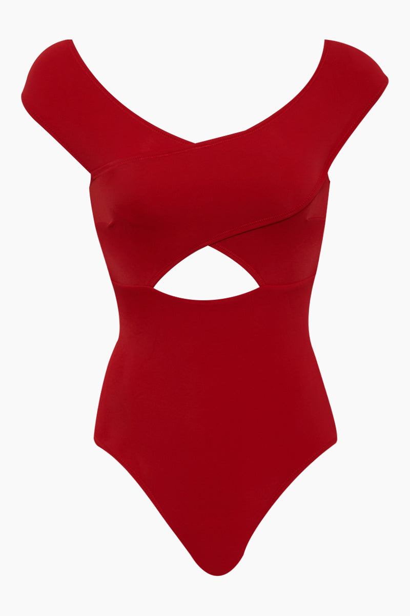 Lucette Off Shoulder Criss Cross Front Cut Out One Piece Swimsuit - Red