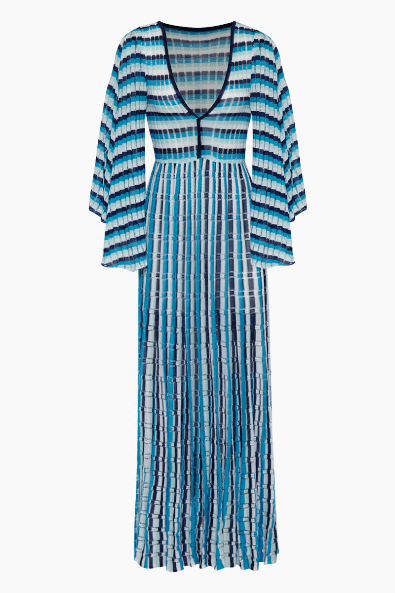 Saint Jean Flowy Maxi Dress - Navy & Aqua Stripe Print